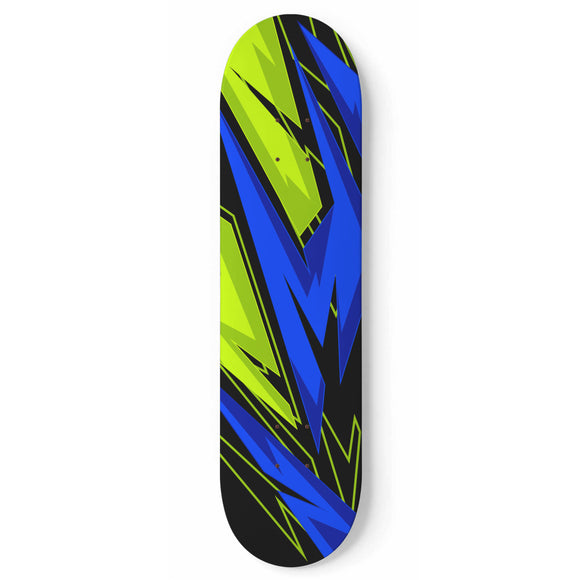 Racing Style Blue & Neon Green Vibe Skateboard Wall Art