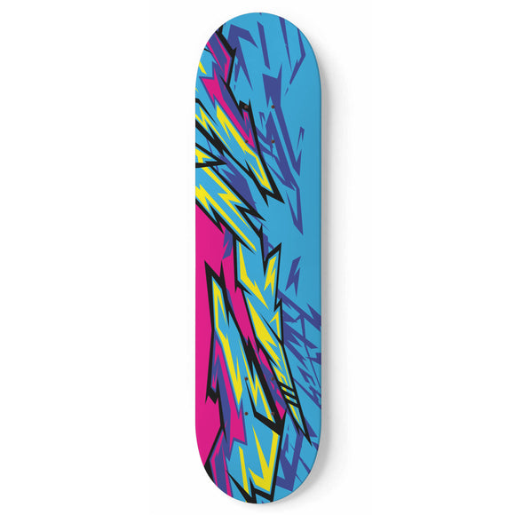 Racing Retro Style Light Blue & Pink Vibe Skateboard Wall Art