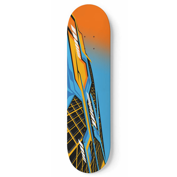 Racing Style Orange & Light Blue Vibe Skateboard Wall Art