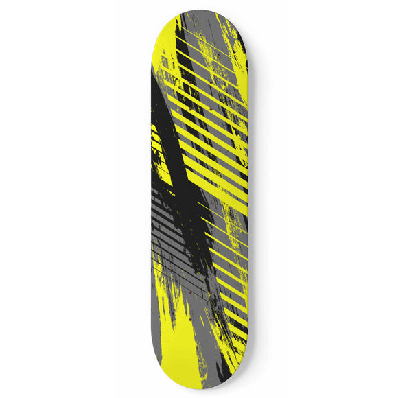 Racing Industrial Style Yellow & Grey Vibes Skateboard Wall Art
