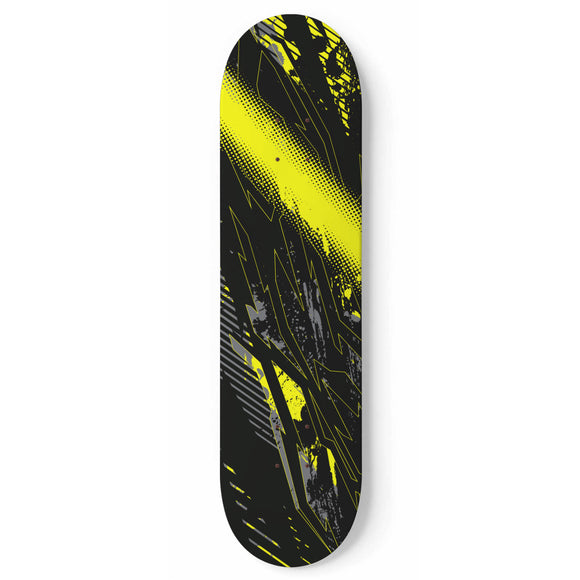 Racing Industrial Style Yellow & Dark Black Vibes Skateboard Wall Art