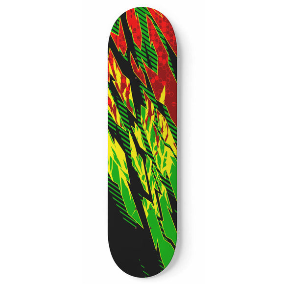Racing Rasta Style Yellow & Green & Red Rastafarian Vibes Skateboard Wall Art