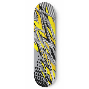 Racing Stripes Style Yellow & Grey Vibes Skateboard Wall Art