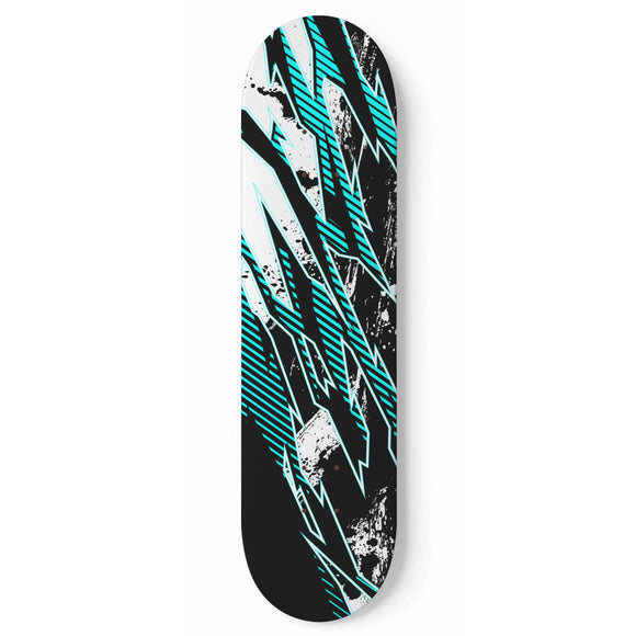 Racing Style Ice Blue & Black Vibes Skateboard Wall Art