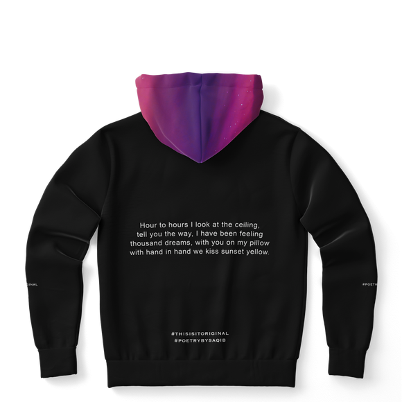 Luxury Poetry with Black on Black Design with Pink & Purple Sky Three Fashion Hoodie