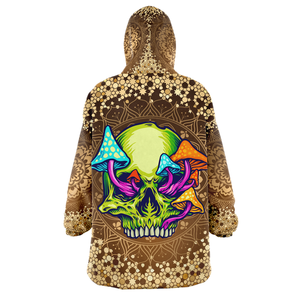 Gold Mandala Design With Psychedelic Neon Green Skull & Mushrooms XXL Oversized Snug Hoodie
