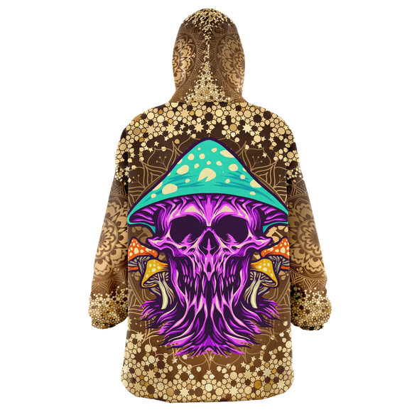 Gold Mandala Design With Psychedelic Violet Skull & Mushrooms XXL Oversized Snug Hoodie