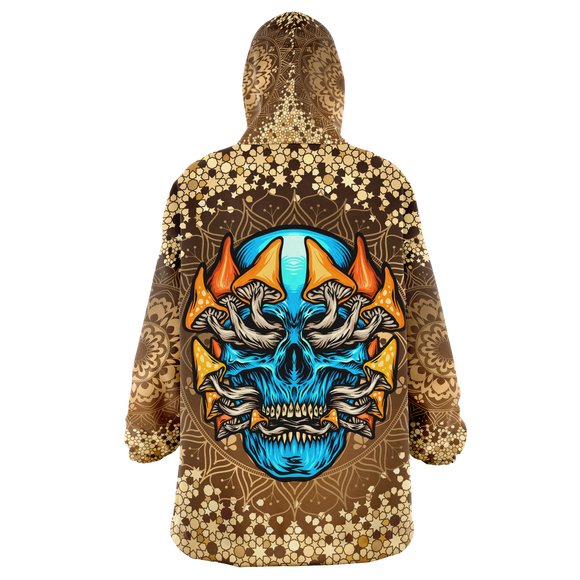 Gold Mandala Design With Psychedelic Light Blue Skull & Mushrooms XXL Oversized Snug Hoodie