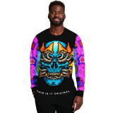 Psychedelic Light Blue Skull with Rainbow Colorful Psychedelic Art Work on Sleeves Design Luxury Fashion Sweatshirt