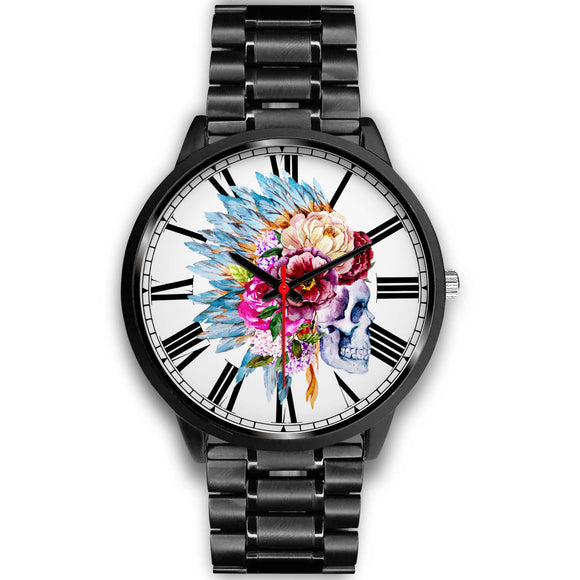 Printed Style Boho Design Skull with Flowers in Head Black Luxury Watch