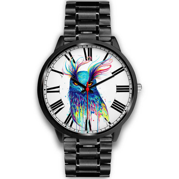 Colorful Sketched Style Owl Black Luxury Watch
