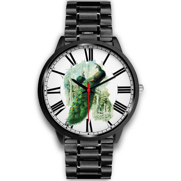 Colorful Sketched Style Peacock Black Luxury Watch