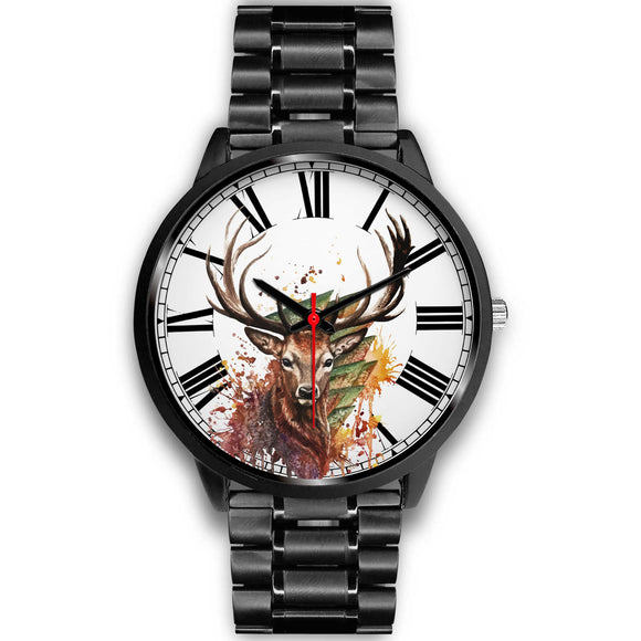 Colorful Sketched Style Deer Black Luxury Watch