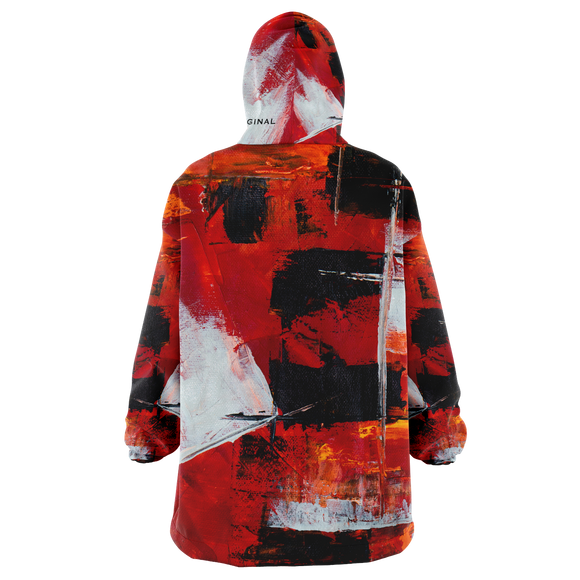 Painted Stylish Art Camouflage Red & Black Colorful Design XXL Oversized Snug Hoodie