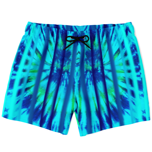 Magic Tie Dye Blue X Spiral Motion with Neon Stripes Luxury Swim Trunks For Men