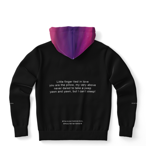 Luxury Poetry with Black on Black Design with Pink & Purple Sky Four Fashion Hoodie