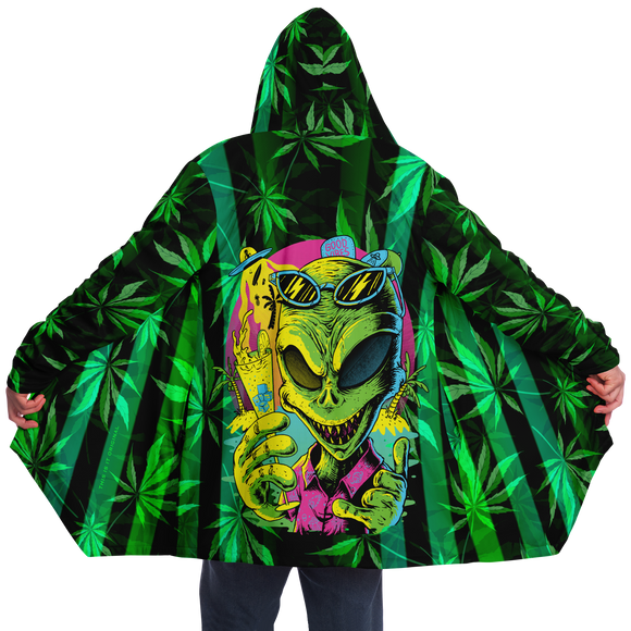 Cannabis design with Neon Stripes Style & Dirty Party Alien Animal Luxury Cloak