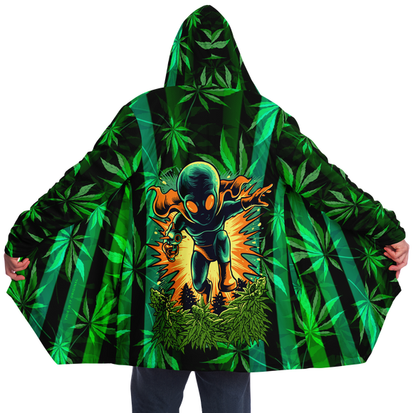 Cannabis design with Neon Stripes Style & Running Angry Alien Luxury Cloak