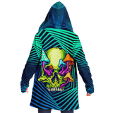 Geometric Explosion Deep Blue & Light Blue with Psychedelic Neon Green & Mushrooms Skull Cloak
