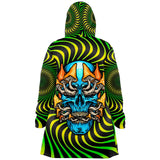 Green Hypnotic Design With Psychedelic Light Blue Skull & Mushrooms Hooded Micro Fleece Cloak