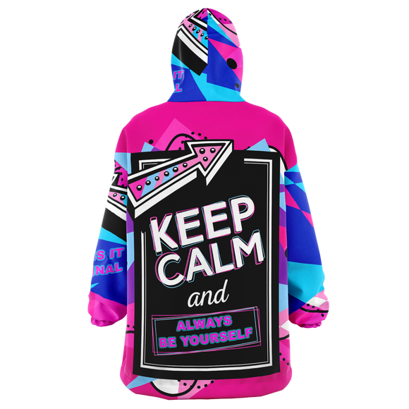Pink Painted Stylish Art Keep Calm & Always Be Yourself XXL Oversized Snug Hoodie