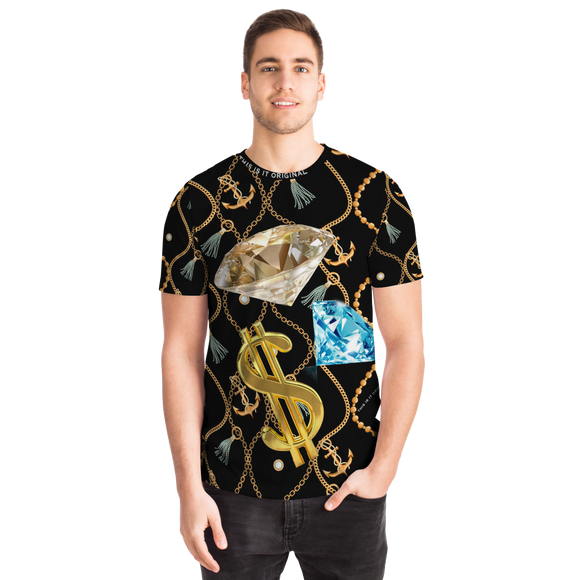 Luxury Gold Chains Design With Diamonds and Dollar Sign T-shirt