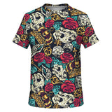 Luxury Tattoo Design With Animal Skull And Roses Street Wear Style T-Shirt