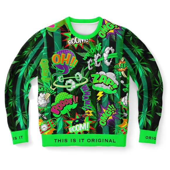 Exclusive Green Neon Comic Style with Cannabis Stylish Design Luxury Fashion Unisex Sweatshirt