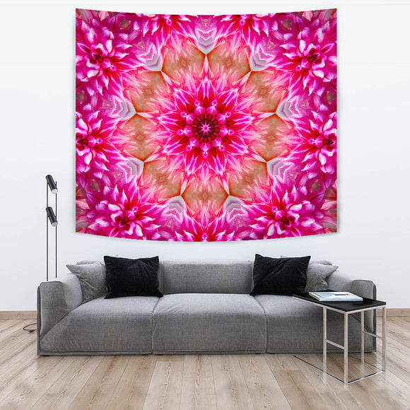 Psychedelic Pink Flower Vision Tapestry