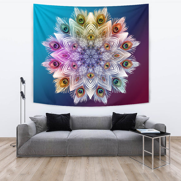 Peacock Feathers Star Tapestry