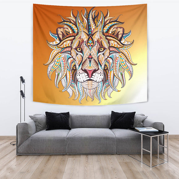 Mystical Lion's Head Tapestry