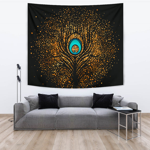 Golden Peacock Feather Tapestry