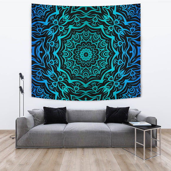 Abstract Blue Mandala Floral Tapestry