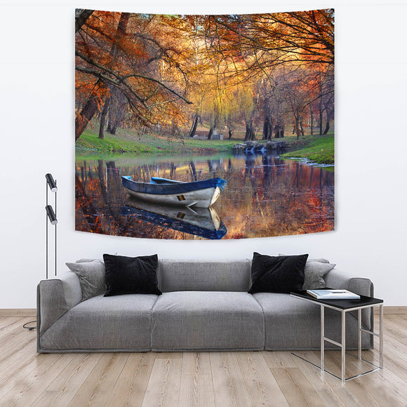 Boat On The Lake In The Autumnal Forest Tapestry