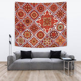 Luxury Magic Fire Red Mosaic Mandala Design Wall Tapestry