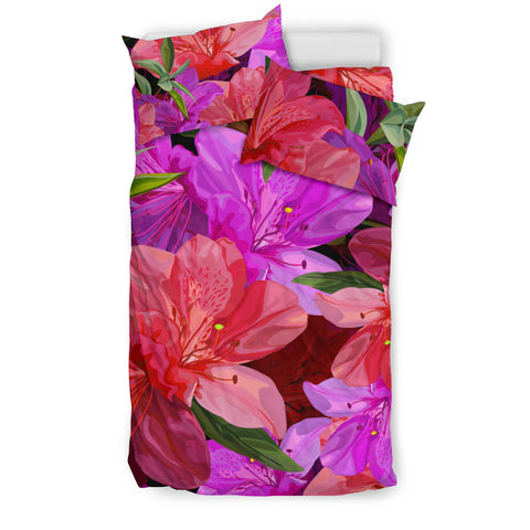 Beautiful Pink Flower Azalea Bedding Set