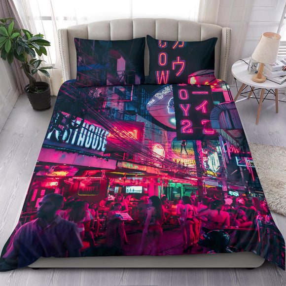 Real Neon City Design Bedding Set