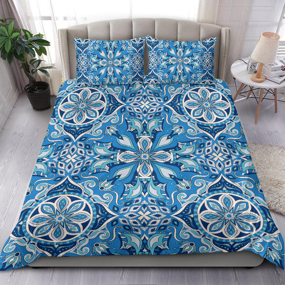 Light Blue Fashion Ornamental Mandala Bedding Set