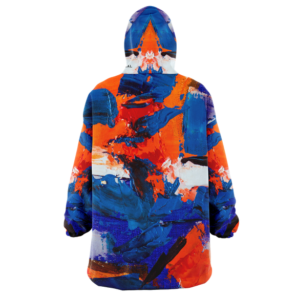 Painted Stylish Art Camouflage Orange & Deep Blue Colorful Design XXL Oversized Snug Hoodie