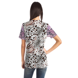 White Art Leopard Style With Pink Design T-shirt