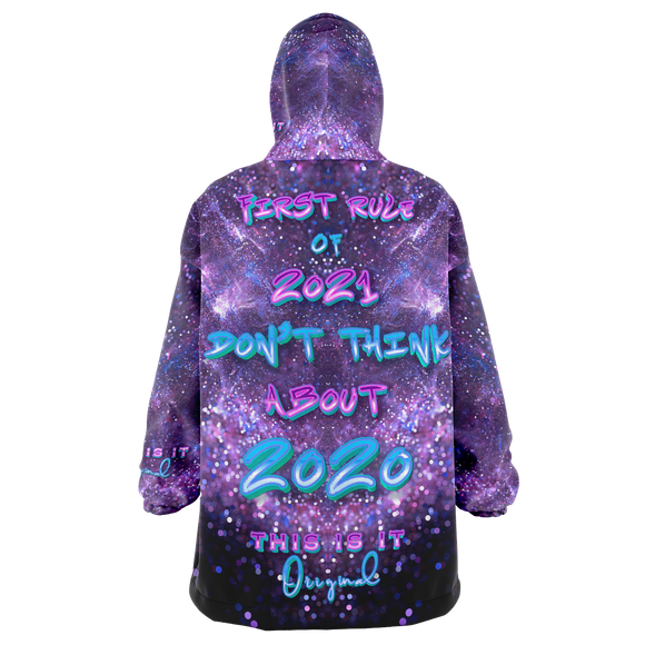 First Rule of 2021 Don't Think About 2020 Violet Space & Stars Design XXL Oversized Snug Hoodie