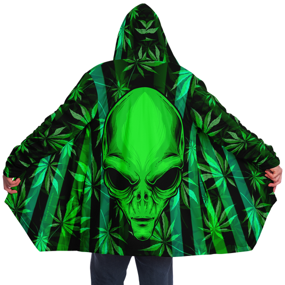 Cannabis design with Neon Stripes Style & UFO DRAMATIC HEAD Luxury Cloak