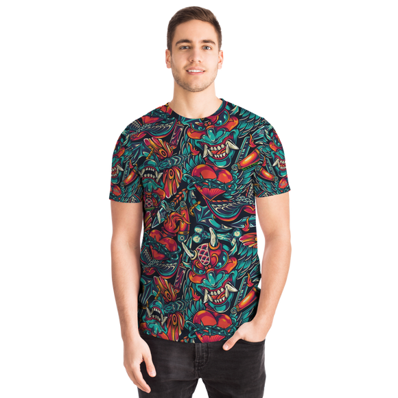 Colorful Tattoo Design With Devil Street Wear Style T-Shirt