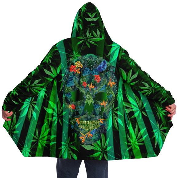Cannabis design with Neon Stripes Style & Dirty Tropical Flower All over Skull Head Luxury Cloak