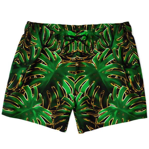Magic Tropical Green Leaves X Golden Effect Luxury Swim Trunks For Men