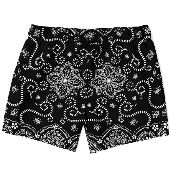 Magic Black Paisley X Bandana Ornamental Luxury Swim Trunks For Men