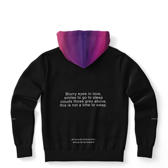 Luxury Poetry with Black on Black Design with Pink & Purple Sky One Fashion Hoodie