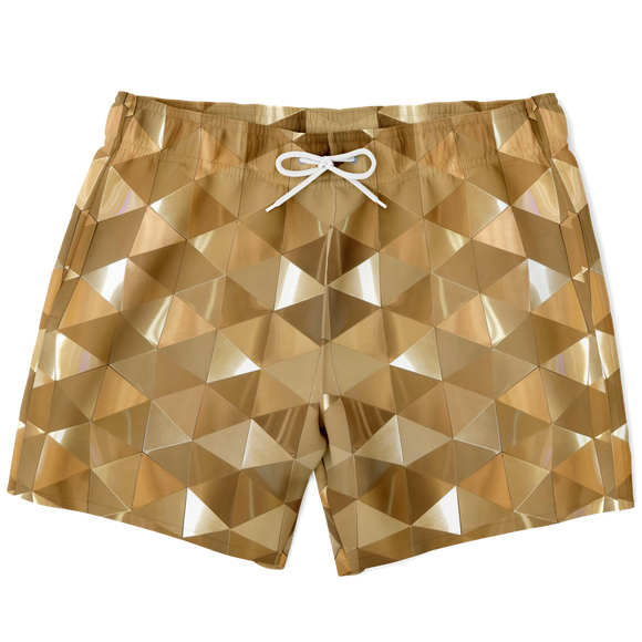 Magic Geometric 3D Golden Effect Luxury Swim Trunks For Men