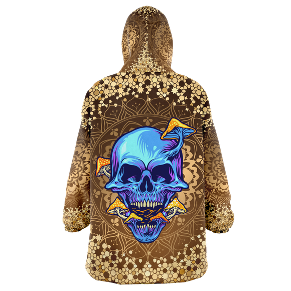 Gold Mandala Design With Psychedelic Dark Blue Skull & Mushrooms XXL Oversized Snug Hoodie
