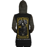 "Magic Black & Gold Ornamental Sleeve - Tarot Card ""THE HIGH PRIESTESS"" Luxury Longline Hoodie Dress"